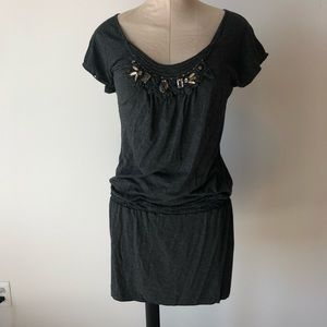 Max Studio Embellished Charcoal Grey Dress S NWT